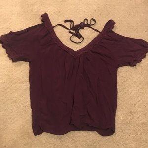Open shoulder crochet detailing Pacsun top